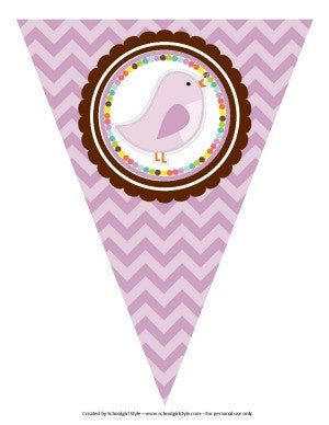 Bright Birds Chevron Pennants
