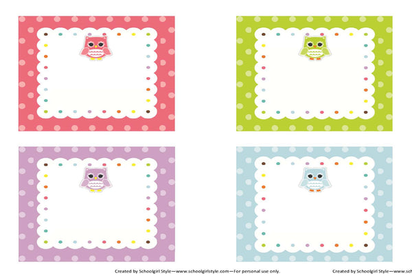 Bright Owls Multipurpose Labels {UPRINT}