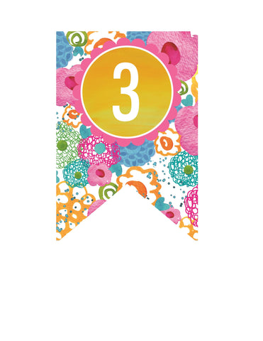 Flamingo Watercolor - Banner Numbers