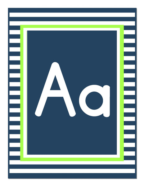 Preppy Nautical Lime Green & Navy Blue Alphabet Letters Print