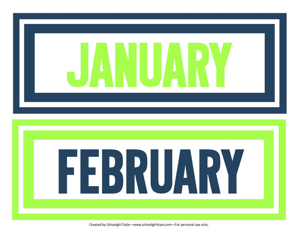 Preppy Nautical Lime Green & Navy Blue Calendar Headers