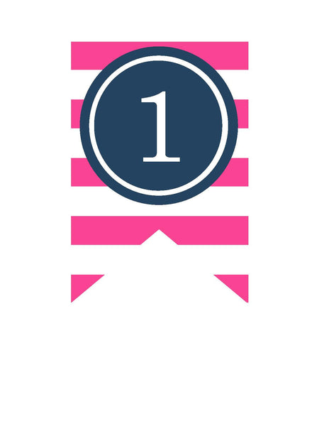 Preppy Nautical Hot Pink and Navy Blue Banner Numbers