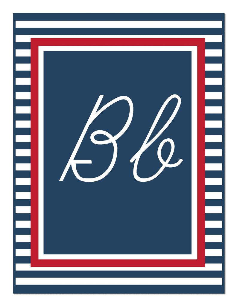 Preppy Nautical Red And Navy Blue Alphabet Letters Cursive