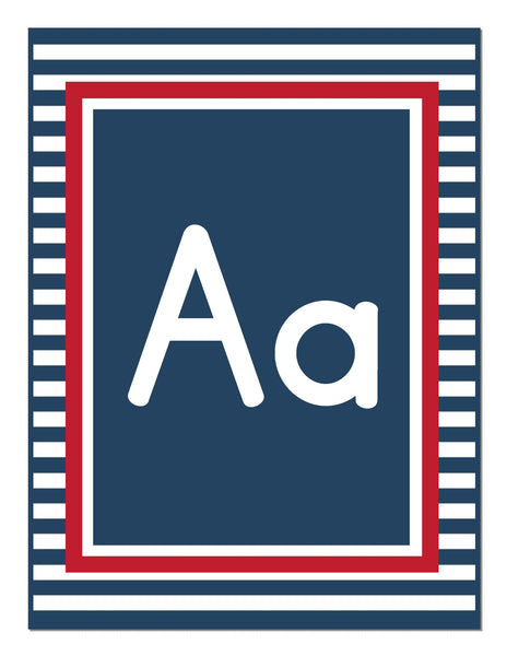 Preppy Nautical Red and Navy Blue Alphabet Letters Print