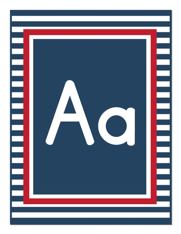 Preppy Nautical Red and Navy Blue Alphabet Letters Print {UPRINT}