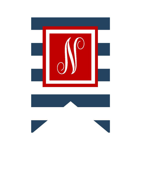 Preppy Nautical Red and Navy Blue Banner Letters