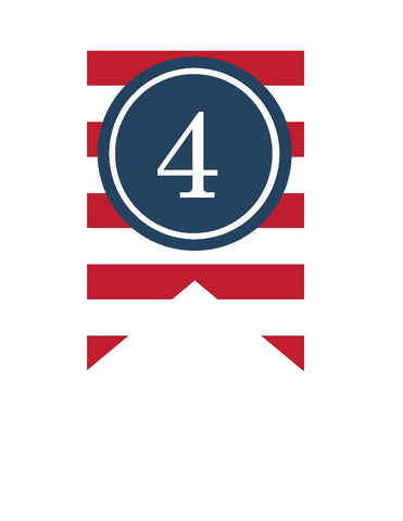 Preppy Nautical Red and Navy Blue Banner Numbers
