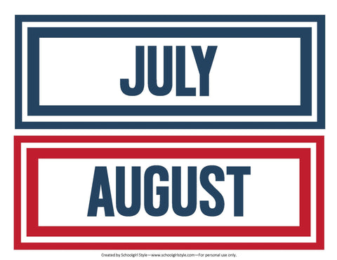 Preppy Nautical Red and Navy Blue Calendar Months