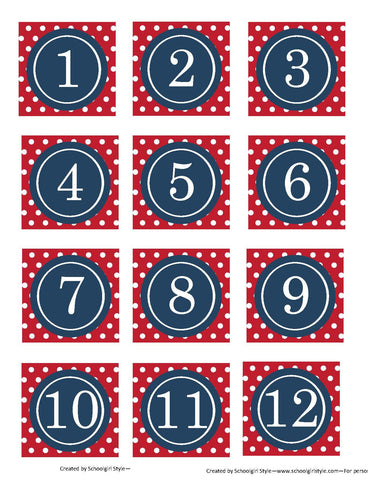 Preppy Nautical Red and Navy Blue Calendar Pieces