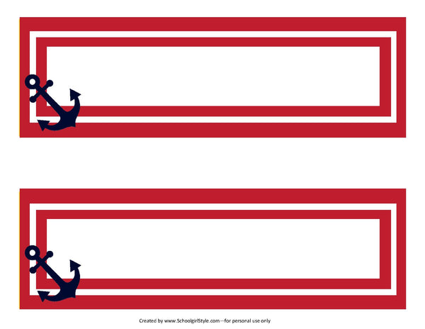 Preppy Nautical Red and Navy Blue Nameplates {UPRINT}