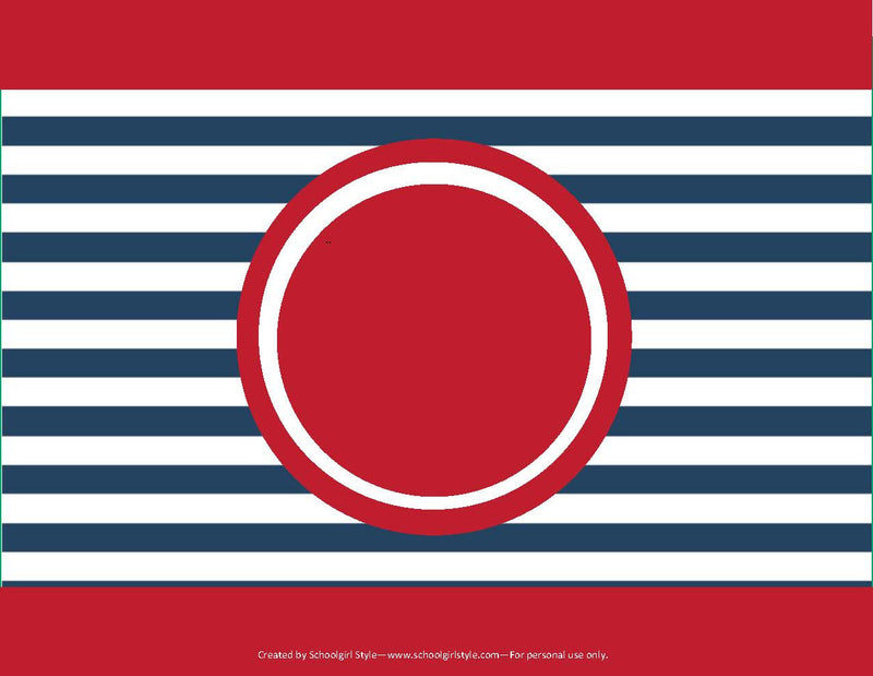 Preppy Nautical Red and Navy Blue Can Covers {UPRINT}
