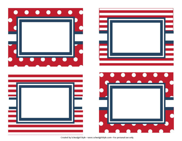 Preppy Nautical Red and Navy Blue Multipurpose Labels