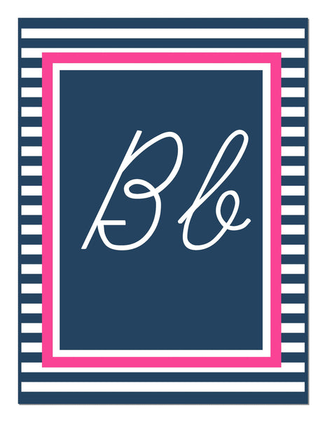 Preppy Nautical Hot Pink and Navy Blue Alphabet Letters - Cursive