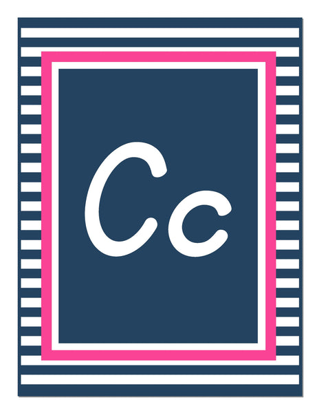Preppy Nautical Hot Pink and Navy Blue Alphabet Letters - Italic
