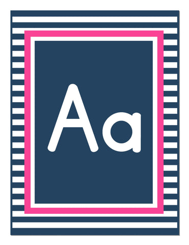 Preppy Nautical Hot Pink and Navy Blue Alphabet Letters - Print