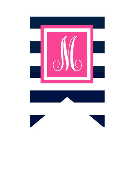 Preppy Nautical Hot Pink and Navy Blue Banner Letters