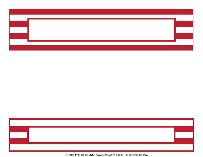 Preppy Nautical Red and Navy Blue Binder Spines {UPRINT}
