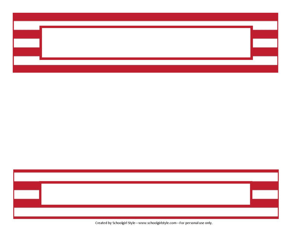 Preppy Nautical Red and Navy Blue Binder Spines