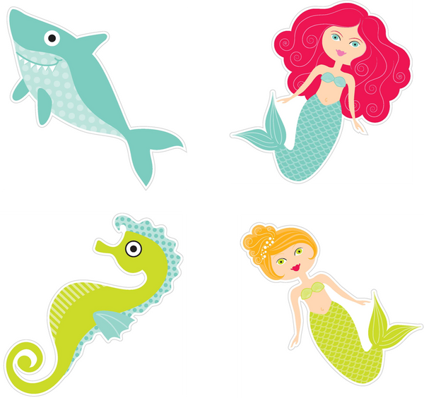 By The Sea Cut Outs - Mermaids, Seahorse, & Friendly Shark