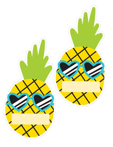 Neon Pop - Pineapple Editable Name Tag Cutouts