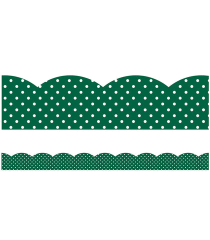 Industrial Cafe Bulletin Green with White Polka Dots Border