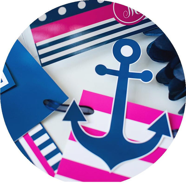Preppy Nautical Hot Pink and Navy Blue - Full Collection