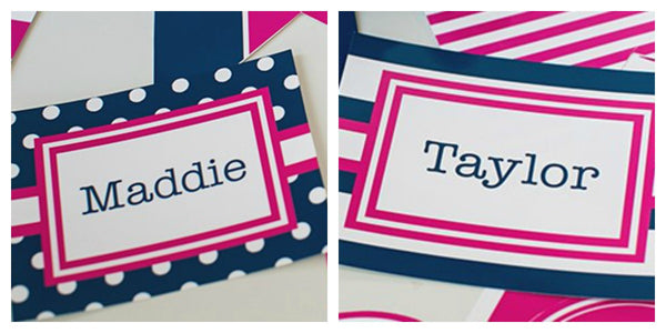 Preppy Nautical Hot Pink and Navy Blue Multipurpose Label