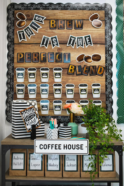 Industrial Cafe Chalkboard with Swirls Border {U PRINT}