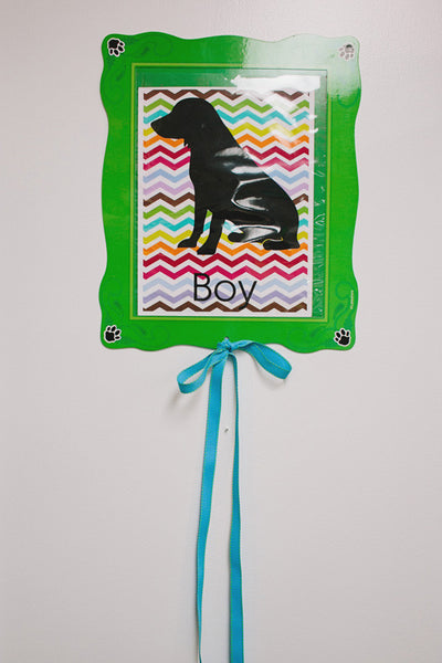 Dog Dayz Dog Silhouette Table Sign with Chevron Background