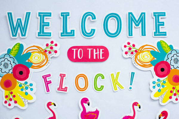 Simply Stylish Tropical 'Welcome to the Flock' Bulletin Board Set {U PRINT}
