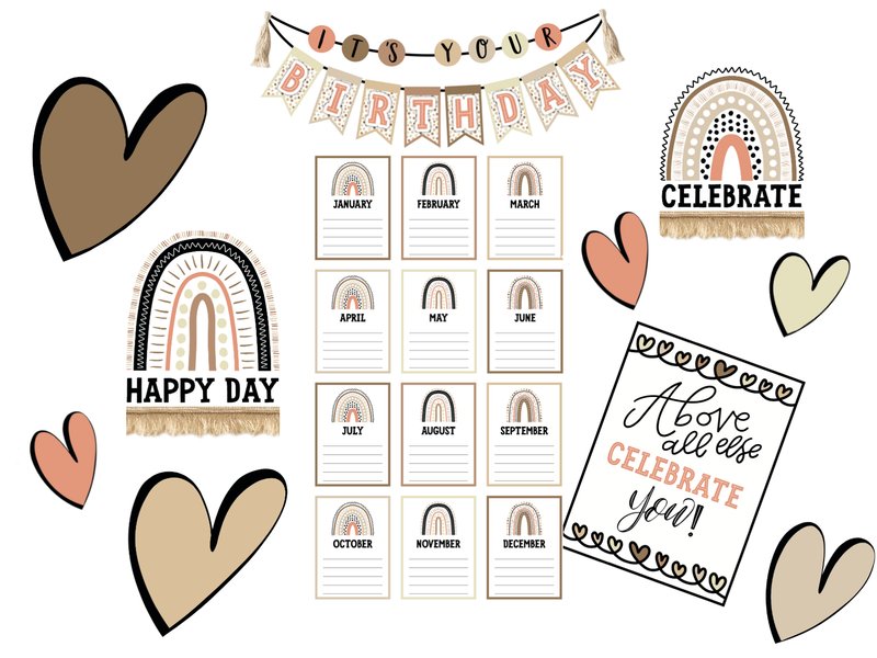 Schoolgirl Style - Simply Stylish Boho Rainbow Birthday Bulletin Board Set {UPRINT}