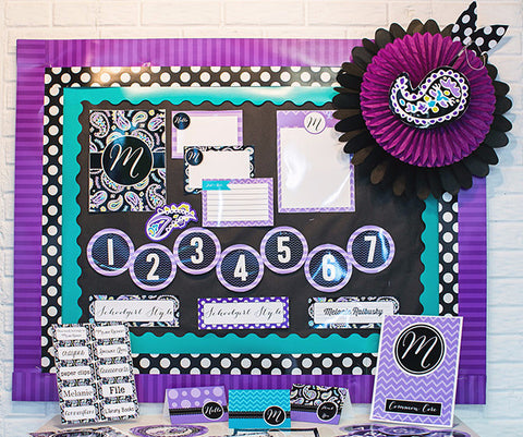 Midnight Orchid Paisley Bulletin Board Letters & Numbers