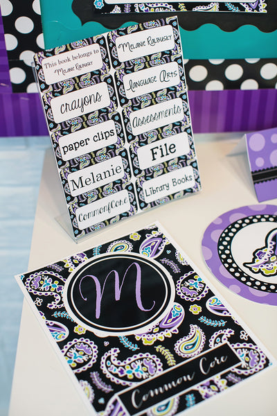 Midnight Orchid Paisley Stationary Set