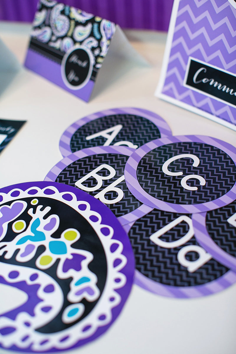 Midnight Orchid Paisley Word Wall Labels {UPRINT}