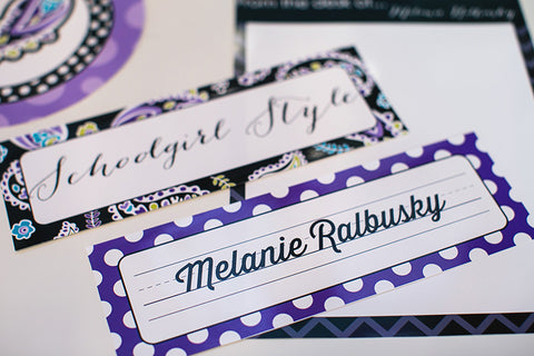 Midnight Orchid Paisley Nameplates {UPRINT}
