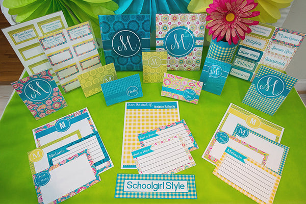 Blue Paisley Pop Stationary Set