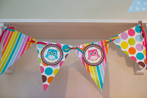 Bright Owls Polka Dot Pennants {UPRINT}