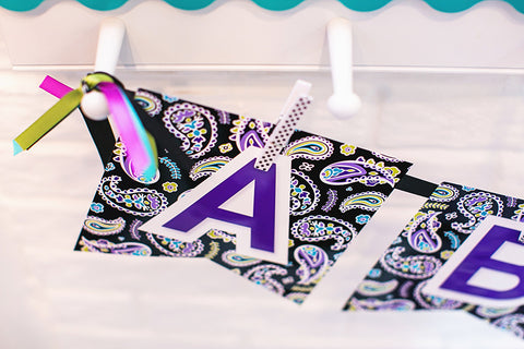 Midnight Orchid Paisley Large Alphabet Pennant Banner {UPRINT}
