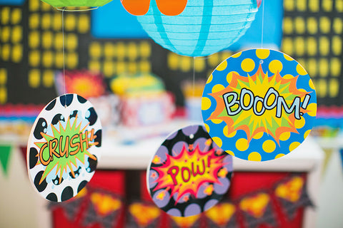 Superhero Boom! Crush! Pow! Table Signs
