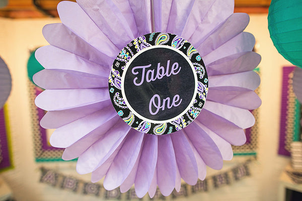 Midnight Orchid Paisley Table/Center Signs