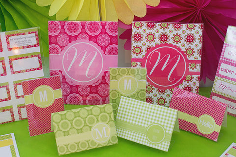 Pink Paisley Pop Stationary Set