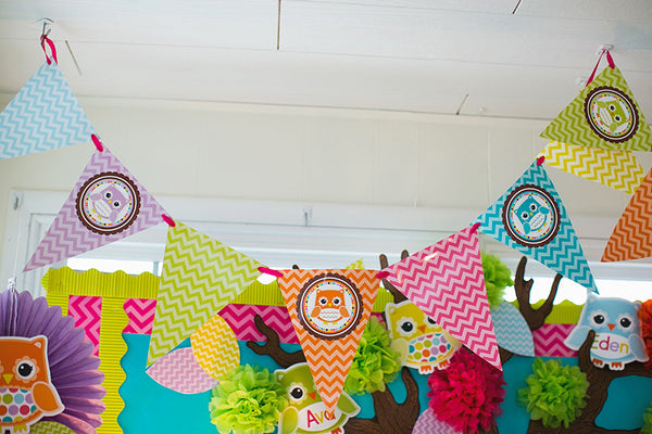Bright Owls Chevron Pennants {UPRINT}