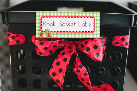 Lovely Ladybugs Book Basket Labels {UPRINT}