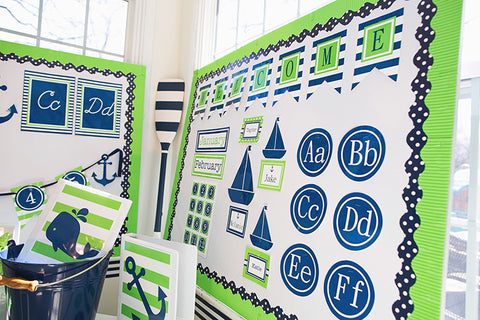 Preppy Nautical Lime Green & Navy Blue Word Wall