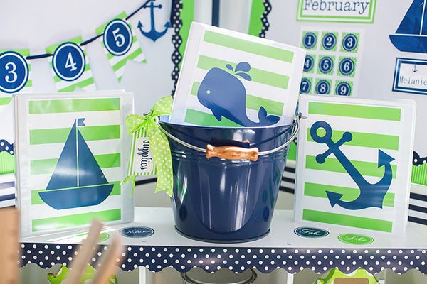 Preppy Nautical Lime Green and Navy Blue Classroom Prints