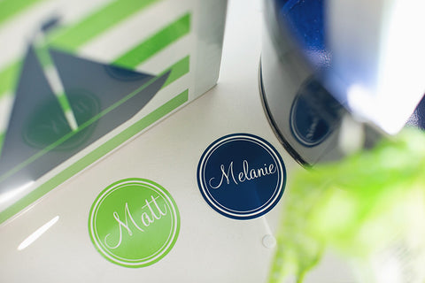 Preppy Nautical Lime Green & Navy Blue 3 inch Round Labels