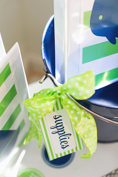 Preppy Nautical Lime Green and Navy Blue Luggage Tags