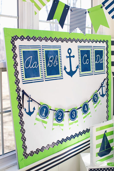 Preppy Nautical Lime Green & Navy Blue Alphabet Letters Cursive