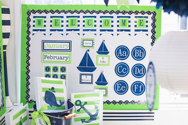 Preppy Nautical Lime Green and Navy Blue Cut Outs