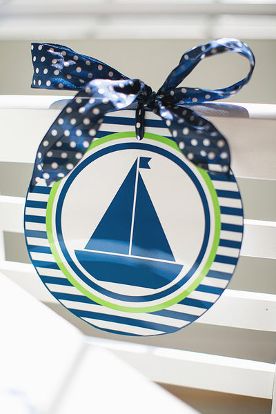 Preppy Nautical Lime Green & Navy Blue Table/Center Signs